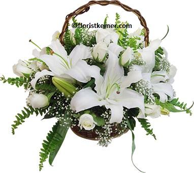 vazoda beyaz gerbera krİzantem Sepette Beyaz Gül ve Lilyum