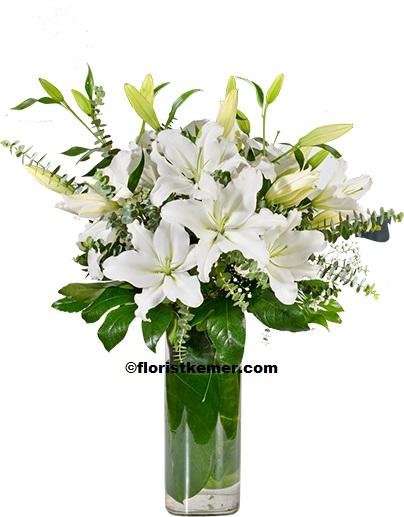 15 adet beyaz gül sade 5 Beyaz Lilyum Vazosu