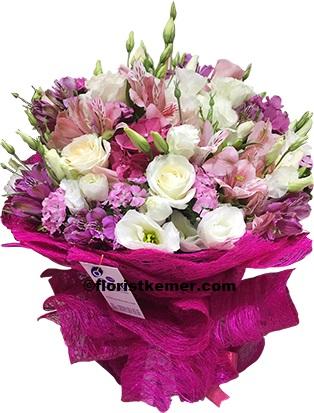 kemer florist Pink white bouquet
