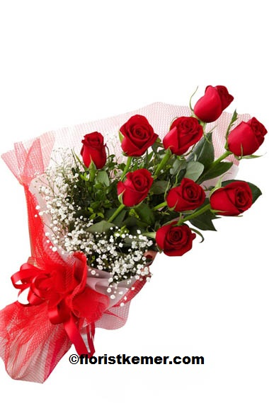 kemer florist 9 Pc Red Rose Bouquet