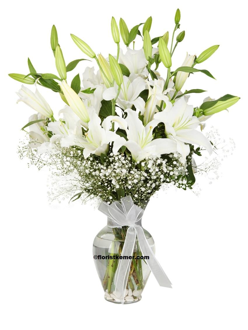 29 adet renkli krizantem buket Vazoda Beyaz Lilyumlar