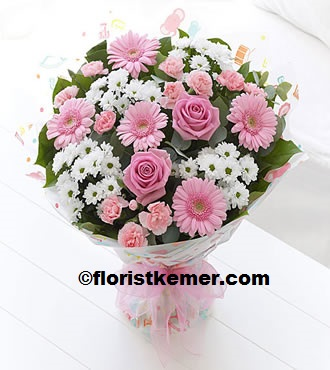 kemer florist Stylish Pink & White Bouquet