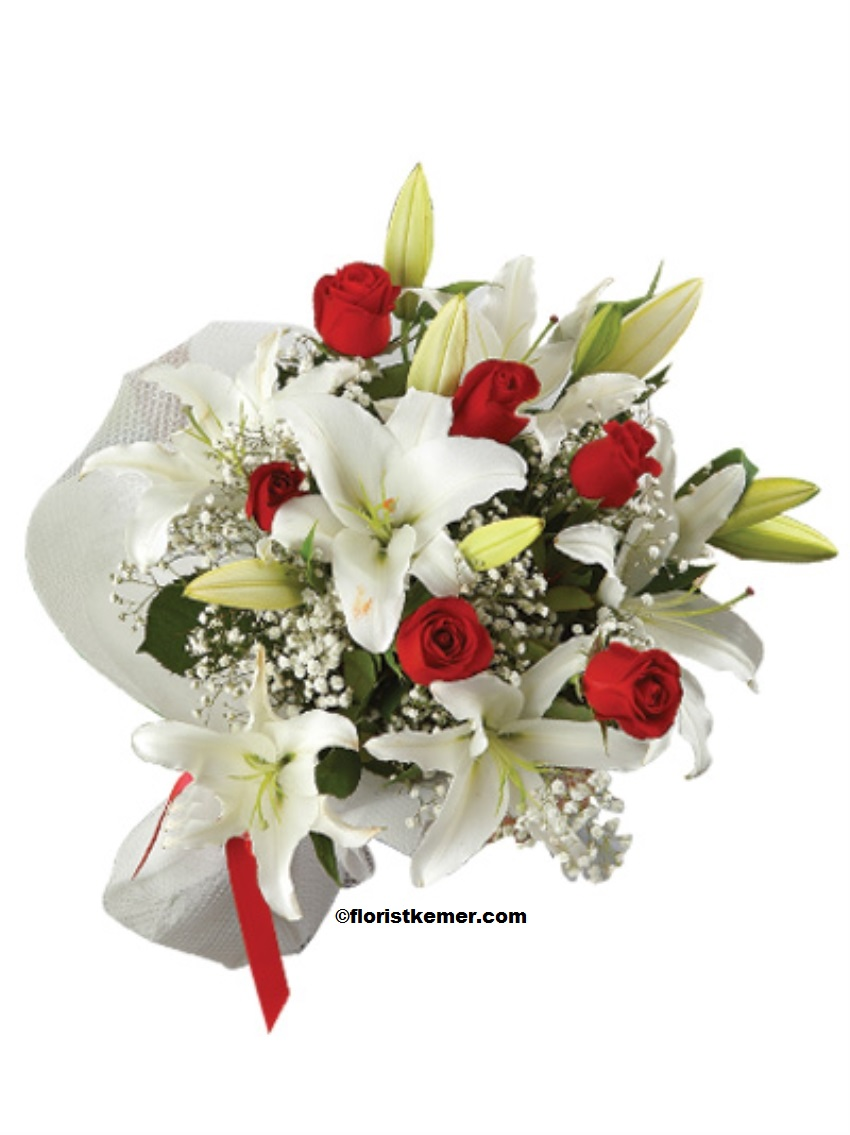 kemer florist 5pc White Lilium & 7pc Red Rose Bouquet