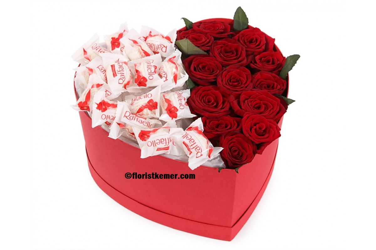 kemer florist Heart Box Red Rose&Raffaello
